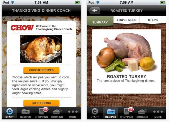 Chow Thanksgiving Dinner Coach app smartphone iphone