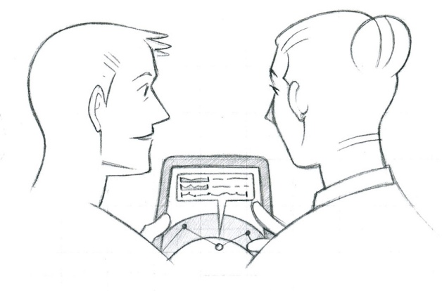 patient and clinician looking at tablet, digital health, mobile health, epatient