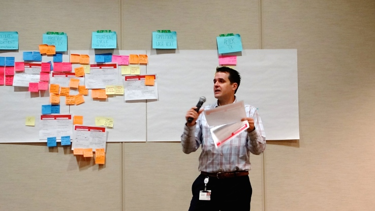 Lilly employee Coleman Gerstner presents a concept for improving adherence at the Adherence Summit.